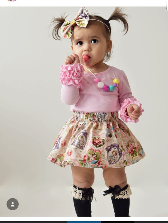 Girls Spring skirt- Vintage Rose Hearts baby girl toddler girls