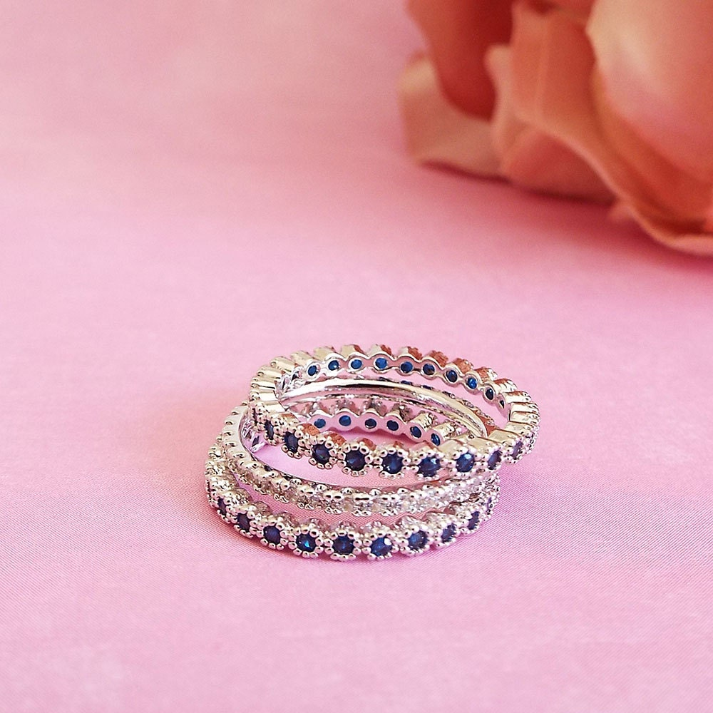 Blue Sapphire Milgrain Bezel White gold 2 mm full eternity stacking ring White gold Eternity Band Anniversary CZ band