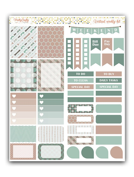Earth colors weekly stickers kit | Themed weekly kit | Erin Condren vertical theme weekly kit | Weekly planner stickers