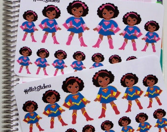 African American Super Woman Planner Stickers for Erin Condren Planner, Happy Planner, many other planners & things, or just for fun!
