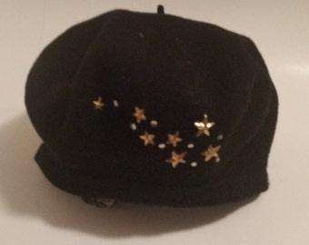 Vintage Black Wool Beret by Tina Too with Bronze Toned Stars & Rhinestones
