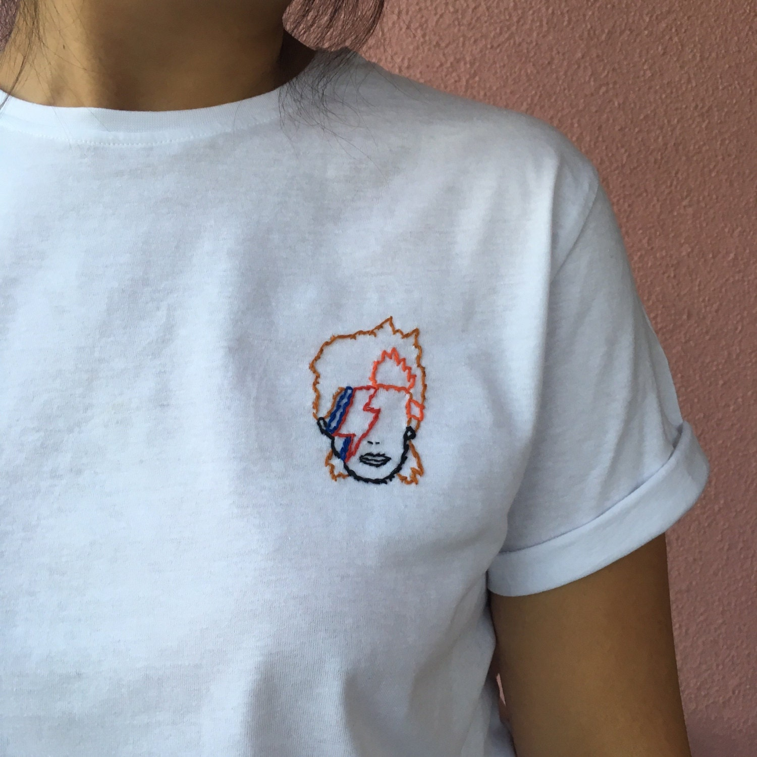 David bowie tee hand embroidered tshirt embroidery