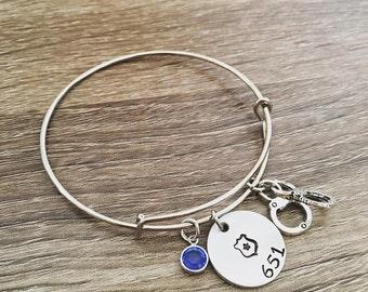 Police officer badge bangle bracelet / Badge number / Blue lives Matter jewelry / Hand stamped badge number / hand cuffs / Police wife / LEO
