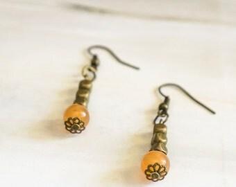 Brass and Orange Orb Earrings