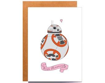 BB-8 Card, Star Wars card, Funny Boyfriend Birthday Card, Star Wars Valentine, Star Wars gift ideas, Anniversary card, funny card