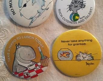 SALE Vintage Boynton Buttons, Sandra Boynton Collectible Buttons, Boynton Buttons Take a Hippo To Lunch Today, No More Mr. Nice Guy, Boynton