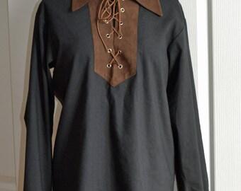 Shirt peasant, black, man