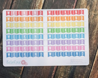 Rainbow Weekend Banners, Planner Stickers, for use in Erin Condren Planners, Happy Planner Stickers