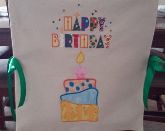 Birthday Custom Made Chair Cover / Bib