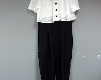 80's Jumpsuit Black and White Vintage Jumpsuit Womens Romper 80's Evening Wear One Piece Suit