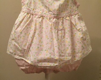 3-6 months, Vintage Classic Baby Clothes, Pink and Yellow Floral Ruffled Bubble Dress