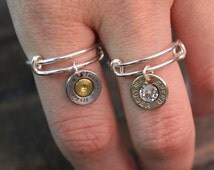 Handmade ALEX ANI STYLE Bullet Rings Adjustable with or without Swarovski Crystals Bullet Jewelry for the Country Girl