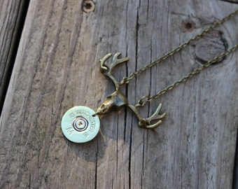 Handmade 12ga Shotgun Shell Bullet Necklace with Buck Stag Deer Charm Winchester