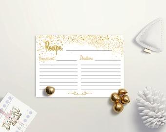 recipe cards printable bridal shower recipe card gold recipe card confetti recipe card bridal shower cards