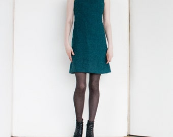 Awesome Vintage 60s Teal Blue Wool Mod Mini Dress