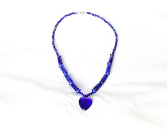 Vintage Bristol Cobalt Blue Hand Made Bead Heart Necklace