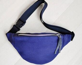 Dark Blue jeans Waist bag money belt hip bag belt bag fanny pack, dark blue jeans bum bag, festival bag, gift for him