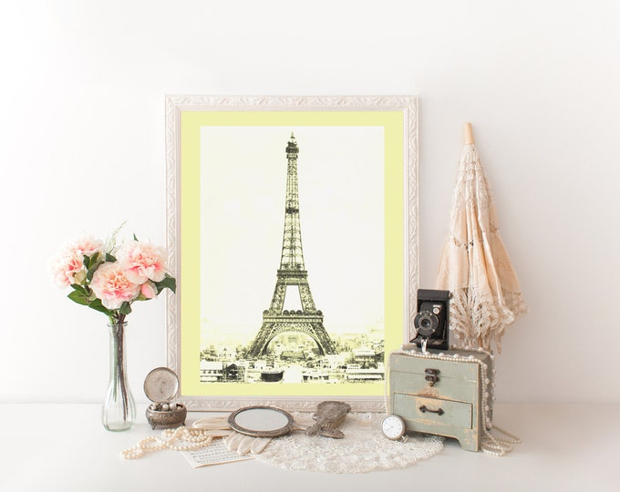 PARIS EIFFEL TOWER Photography Digital Art Print Yellow Tinted Photograph Paris Digital Print Eiffel Tower Photograph French Room Decor Diy