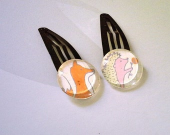 cute woodland hair clips x2