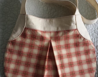 Handmade Red and Cream Checked Shoulder Bag with Cream Strap. One of a kind