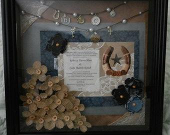 Country Chic Themed Wedding Invitation Shadowbox Keepsake, made to order