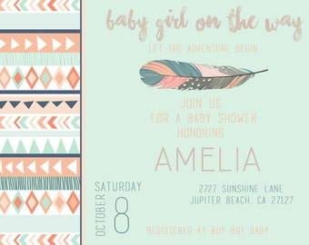 Aztec/Tribal Baby Shower Invitation// Digital Download
