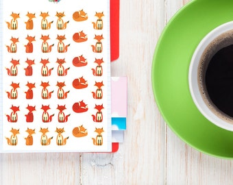 Cute Foxes Planner Stickers | Animal Stickers | Fox Stickers | Cute Foxes (S-077)