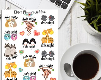 Date Night Planner Stickers | Cute Couples | Animal Stickers | Cute Animals | Date Night (S-120)