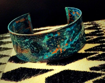 A blue patina copper cuff bangle, copper cuff bangle