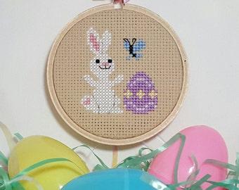 Spring bunny cross stitch - pattern only