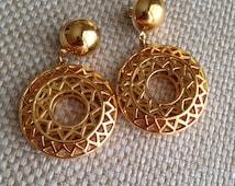Vintage 80's Chunky Ornate Gold Monet Hoop Earrings, Runway Jewelry-Large