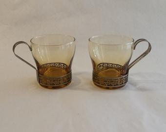 AMBER GREEK KEY Libby Topaz Glass Mugs Cups Set of 2 1950's Vintage Retro