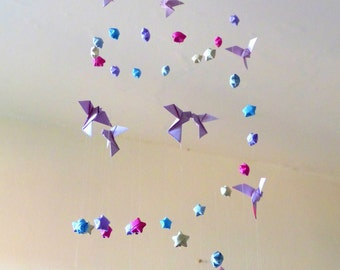 """Large Mobile origami stars and doves """"Flight to the stars"""""""