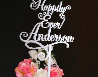"""Your Last Name """"Happily Ever"""" Wedding Cake Topper,  A Larger Elegant Heirloom Quality topper - JOLIÉ COLLECTION - AJP305"""