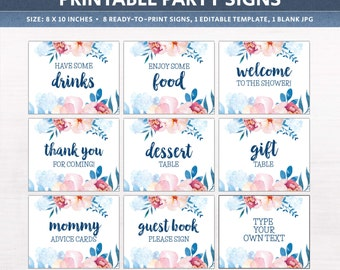 Baby shower signs, printable party decor, floral signs, includes EDITABLE template, couples baby shower ideas, floral decor, DIGITAL files