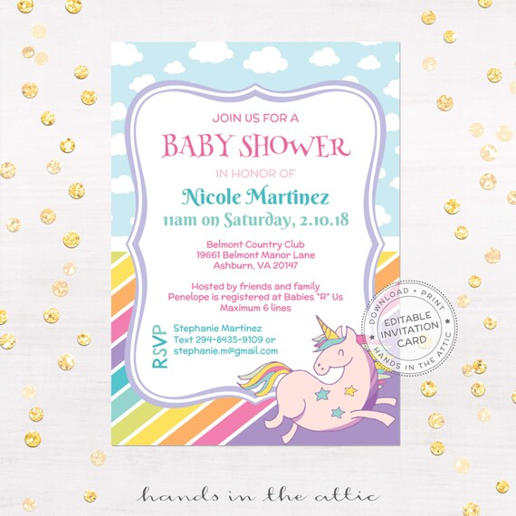 Unicorn Invitation, Printable Baby Shower, You Can Edit