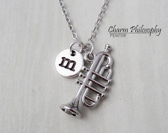 Trumpet Necklace - Personalized Monogram Initial Necklace - Antique Silver Jewelry - Instrument Charm - Musician Gifts