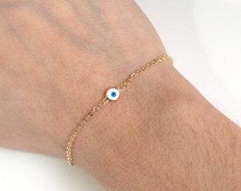 Gold Evil Eye Bracelet, Gold Evil Eye, Lucky Eye, Protection Bracelet, Protection Amulet, Nazar, Turkish eye, kabbalah Good luck Charm