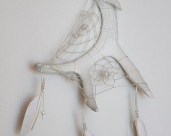 Naturally Shed / White Deer Antler Dream Catcher