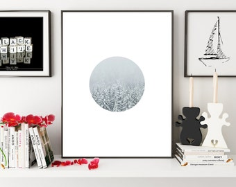 Winter Art, Snow Photography, White Circle, Snow Wall Art, Winter Print, Winter Wall Prints, Snow Art, Snow Photo, Snow Print