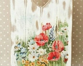 Wooden Wall Plaque French Rustic ChicVictorian VintageShabby Floral Cottage Garden Poppy Flower Decoupage Wall Art Hanging Decor Gift