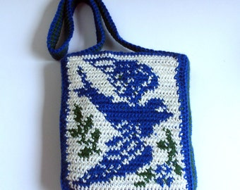 Tapestry Crochet Buebird Purse