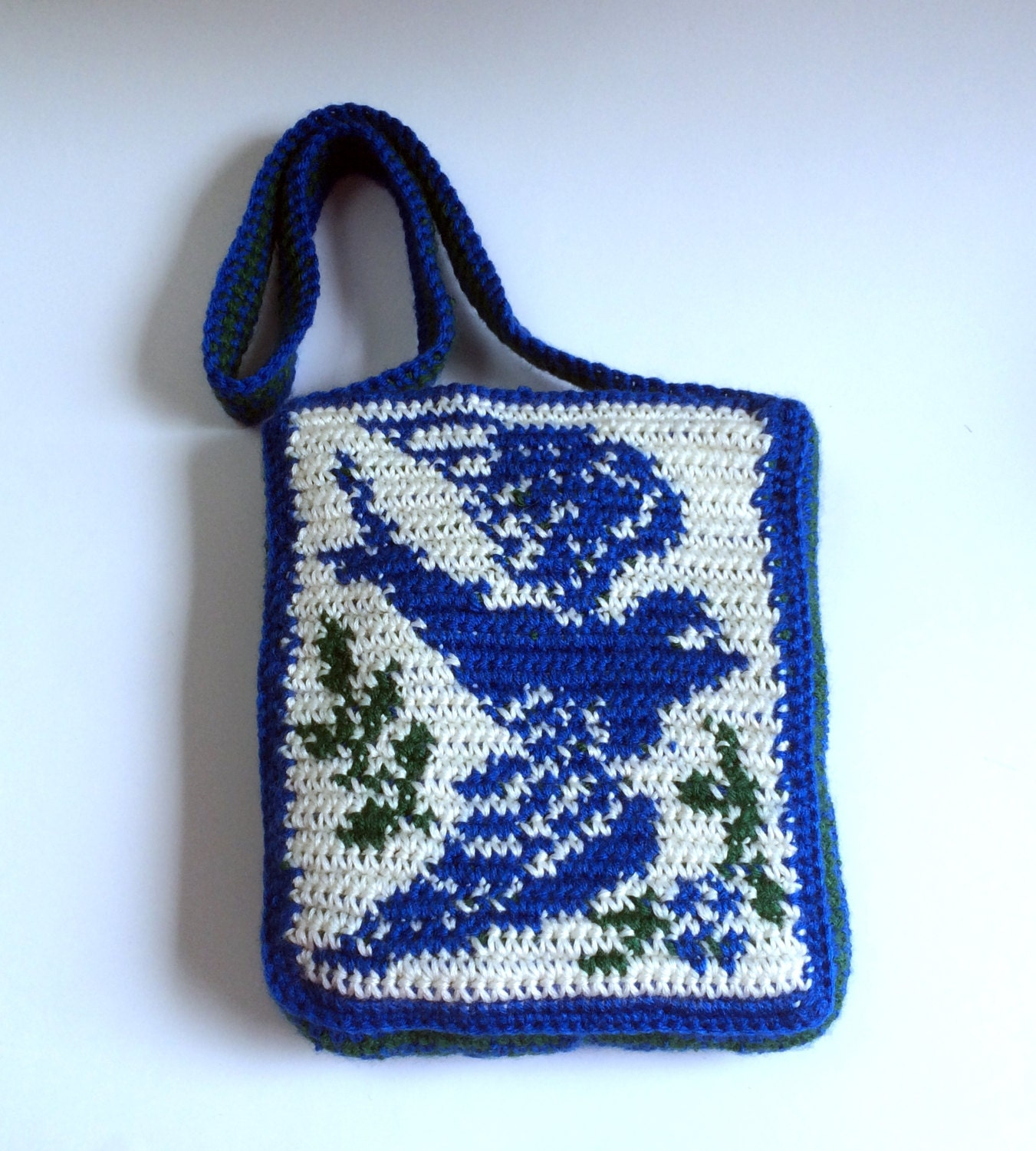 Tapestry Crochet Bag : Bluebird Purse Tapestry Crochet Bag by SoftsideCrochet on Etsy