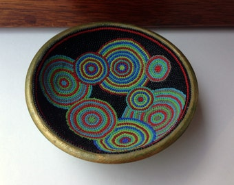 Upcycled Wooden Bowl with Colorful Bead Mosaic  Inlay -  Green