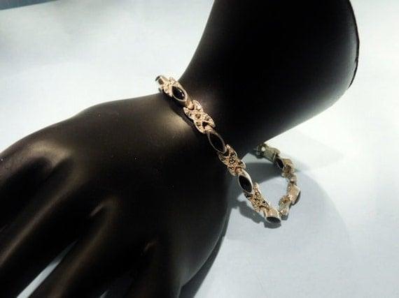Vintage Black Onyx Marcasite Sterling Silver Bracelet Gold Wash Backdrop 925 Link Bracelet Black Gem Gemstone Artisan Hand Crafted Bracelet