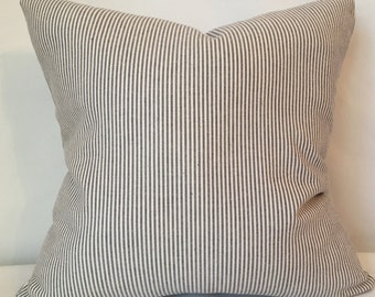 """Blue and cream stripe pillow cover 16"""" x 16"""""""