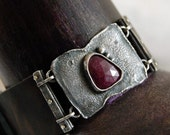 RESERVED   -  ruby bracelet, leather bracelet with rough silver and ruby, leather bracelet