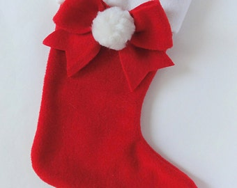 Red Christmas stocking, Elegant, Classic decoration, Cute bow with pompom, Pompom, Natural wool pompom,