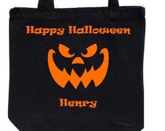 Custom Halloween Trick or Treat Bag Scary Jack-o-lantern