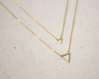 Gold Triangle Necklace / Double Triangle Geometric Necklace / Dainty Layered Jewelry/ Gold Triangle Necklace